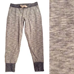 Gray space dyed cropped joggers